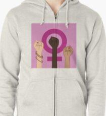 Feminism Power Symbol. Three multicultural women raising fists in solidarity Zipped Hoodie