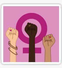 Feminism Power Symbol. Three multicultural women raising fists in solidarity Sticker
