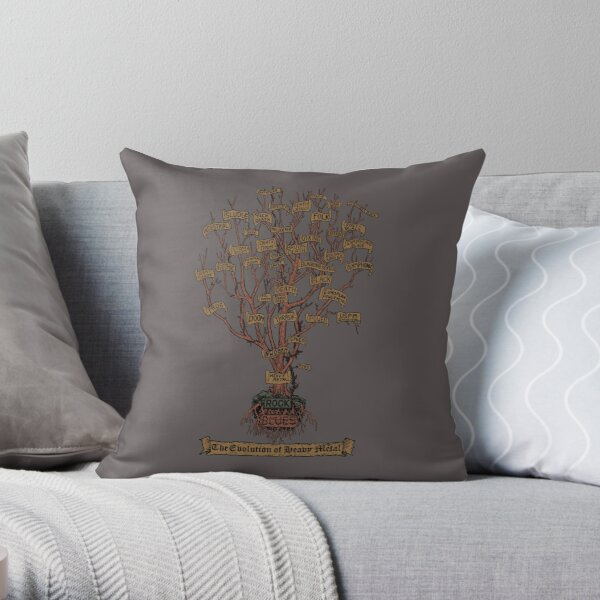 The Evolution of Heavy Metal - Stickers, T-shirts etc. Throw Pillow
