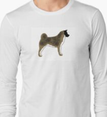 akita brown black overlay silhouette Long Sleeve T-Shirt