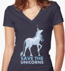 Save the Unicorns Fitted V-Neck T-Shirt