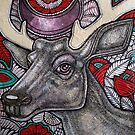 Stag and Rose by Lynnette Shelley