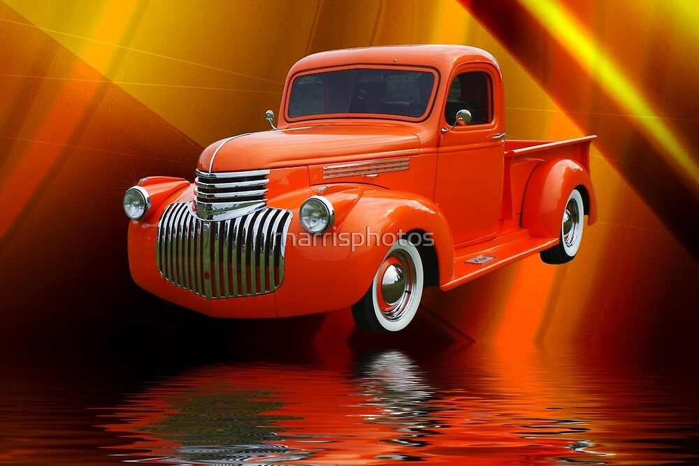 Custom Orange Ford Pick up Abstract by rharrisphotos