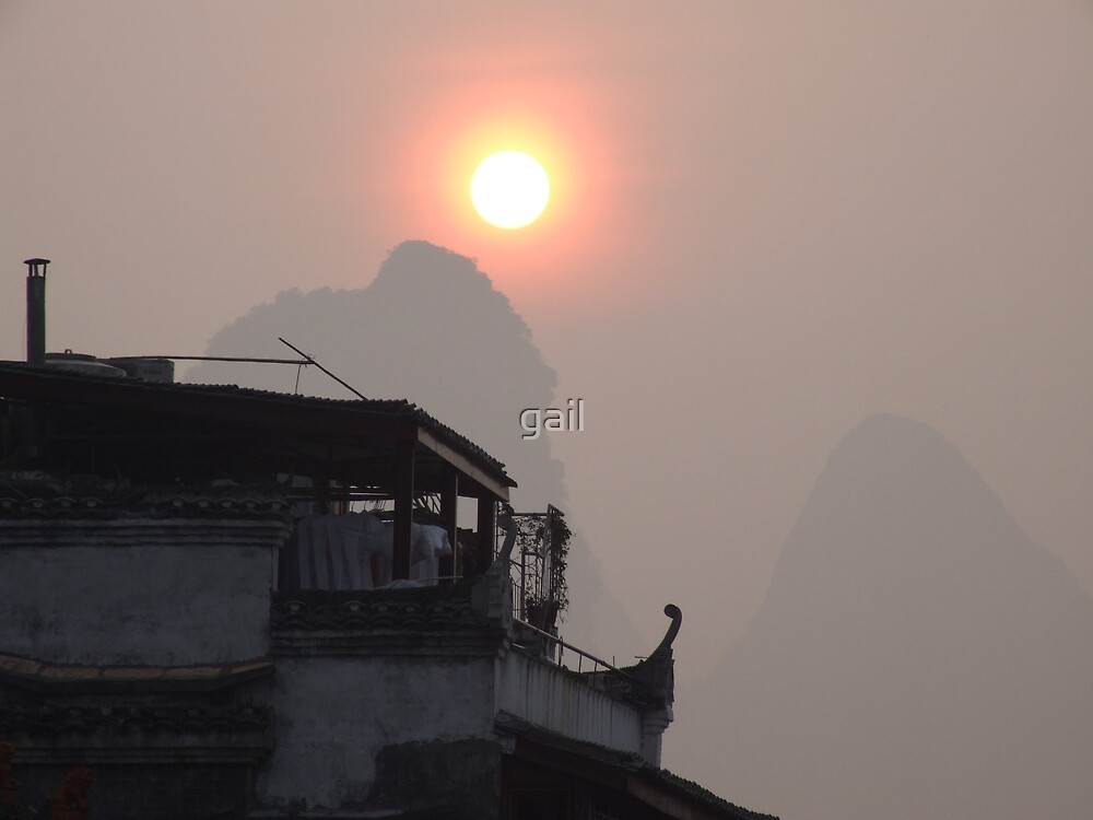 Sunrise over Yangshou by gail