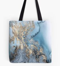 Blue Gold Marble Tote Bag