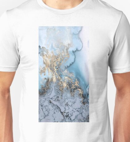 Blue Gold Marble Unisex T-Shirt