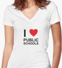 I Heart Public Schools - I Love Public Schools Women's Fitted V-Neck T-Shirt