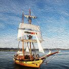 Tall Ship in Faux Oil by Rob Chiarolli