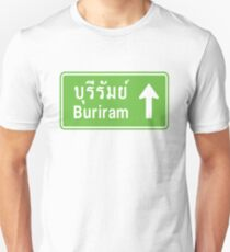 Buriram, Isaan, Thailand Ahead ⚠ Thai Traffic Sign ⚠ Unisex T-Shirt