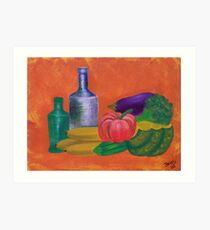Vegetables, bananas & glass bottles Art Print