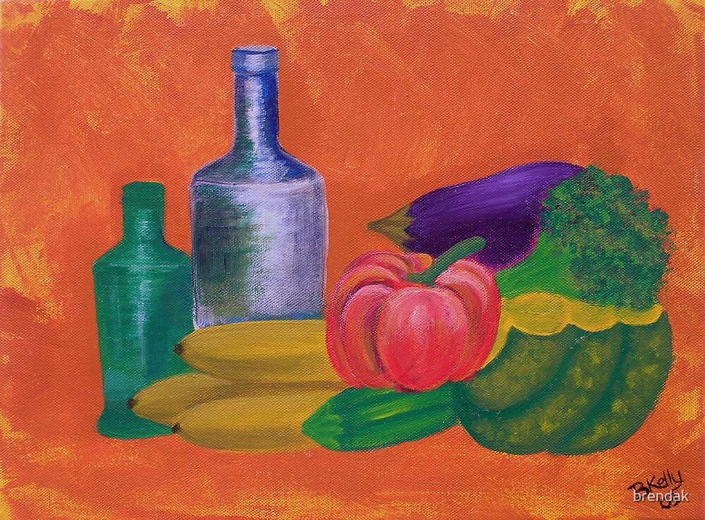 Vegetables, bananas & glass bottles by brendak