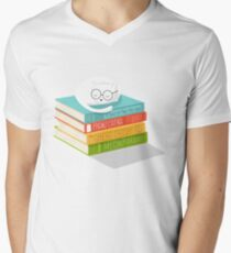 The Cat Loves Books Men's V-Neck T-Shirt