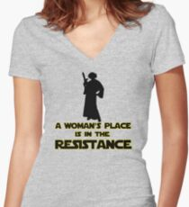 A Woman's Place Is In The Resistance 2 Women's Fitted V-Neck T-Shirt