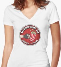 Weighing In: Fights and Films logo Women's Fitted V-Neck T-Shirt