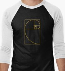 Golden Ratio Sacred Fibonacci Spiral Men's Baseball ¾ T-Shirt