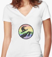Snowboarding 1 distressed Women's Fitted V-Neck T-Shirt