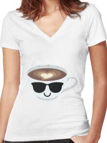 Latte Art Coffee Emoji Cool Sunglasses Women's Fitted V-Neck T-Shirt