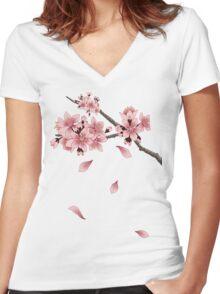 Cherry Blossom Branch Women's Fitted V-Neck T-Shirt