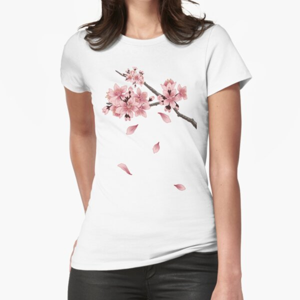 Cherry Blossom Branch Fitted T-Shirt