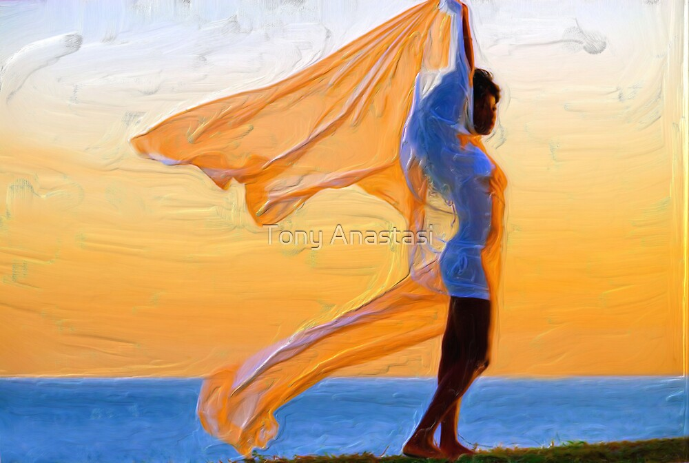 orange blue angel by Tony Anastasi
