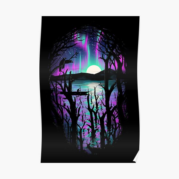 Night With Aurora Poster