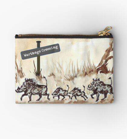 Warthogs Crossing Zipper Pouch