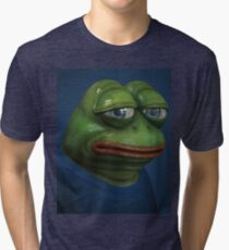 'Sad Pepe', 3d Pepe Painting Tri-blend T-Shirt