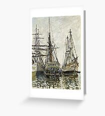 Claude Monet - Boats In A Harbour 1873 Greeting Card