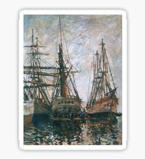 Claude Monet - Boats On Rapair, 1873 Sticker