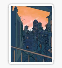 Cityscape in the Evening Sticker