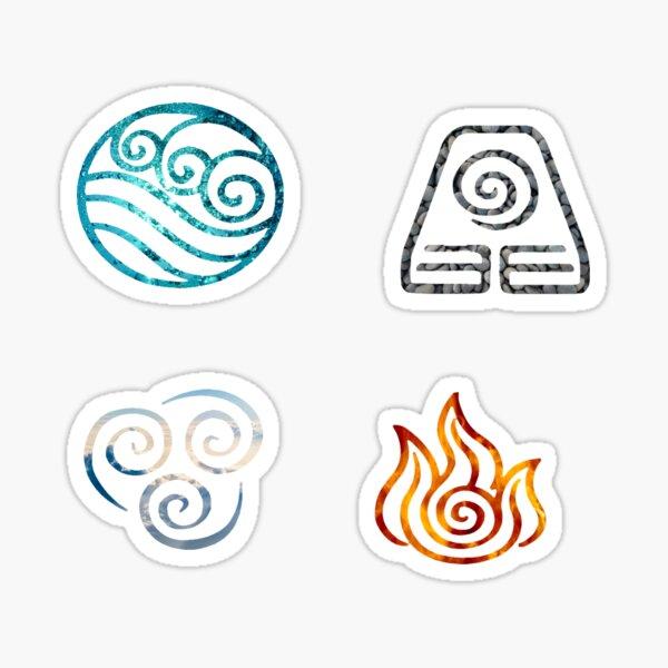 Avatar the Last Airbender Element Symbols Pegatina