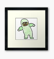cartoon man in protective clothing Framed Print