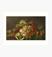Cornelis De Heem - Still Life With A Basket Of Fruitc. 1654 Art Print