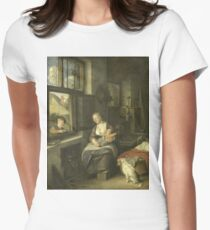Cornelis Dusart - A Mother With Her Children Womens Fitted T-Shirt
