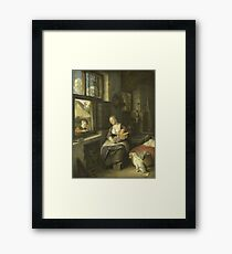 Cornelis Dusart - A Mother With Her Children Framed Print