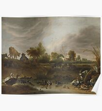 Cornelis Saftleven - Landscape With Animals, 1652 Poster
