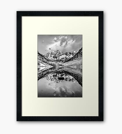 Contrasting Reflections - Maroon Bells Mountains - Aspen Colorado Framed Print
