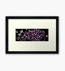 enlighted female silhouette with pink butterflies Framed Print