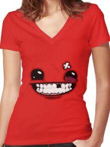 SuperMeatBoyLogo Women's Fitted V-Neck T-Shirt