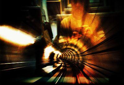 self portrait in copenhagen underground by Brett Squires