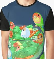 Birb Salad - Peach Faces (Dark Blue) Graphic T-Shirt