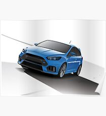 Blue Focus RS - Silver wheels Poster