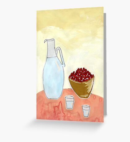 Jug and fruit. Greeting Card