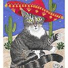 Tabby Cat in Sombrero by Akire Bubar
