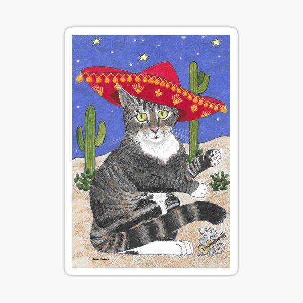 Tabby Cat in Sombrero Sticker