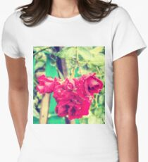 Wet red roses 2 Womens Fitted T-Shirt
