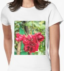 Wet red roses 3 Womens Fitted T-Shirt