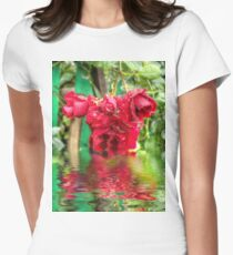 Wet red roses 4 Womens Fitted T-Shirt