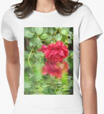 Wet red roses 5 Womens Fitted T-Shirt