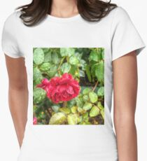 Wet red roses 6 Womens Fitted T-Shirt